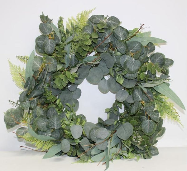 Mixed Eucalyptus and Ferns Wreath 60cm