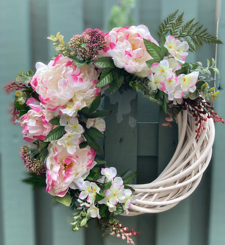 Ivory and Pink Peony Wreath