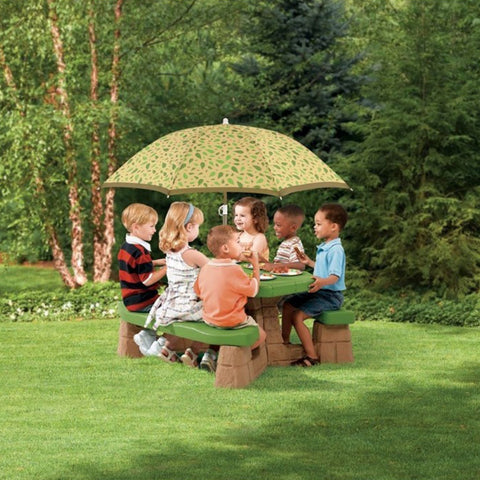 Image of Speelelement | Step2 - Picknicktafel met parasol (groen) - JouwSpeeltuin