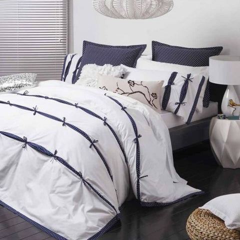Anji Navy Quilt Cover Set