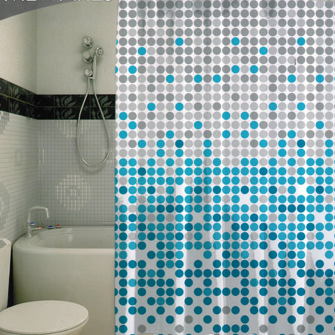 Aqua Dot Polyester Shower Curtain - Baines Manchester