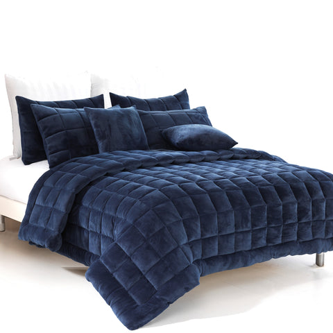 Augusta Faux Mink Quilt Set. 5 colours