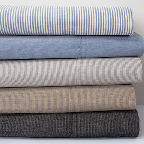 Chambray Sheet Set Blue and Charcoal - Baines Manchester