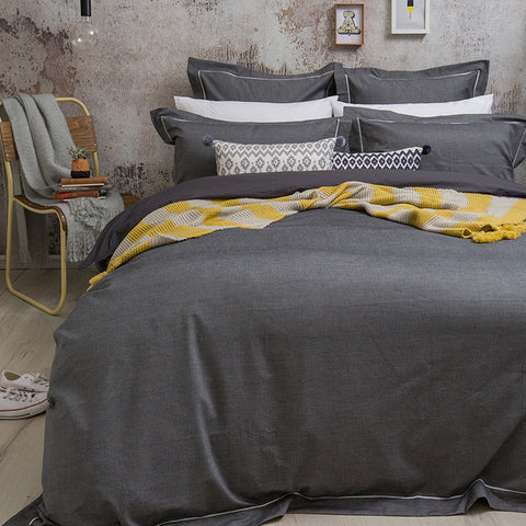 Charleston Charcoal Quilt Cover Set - Baines Manchester