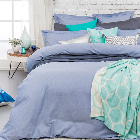 Charleston Blue Quilt Cover Set - Baines Manchester