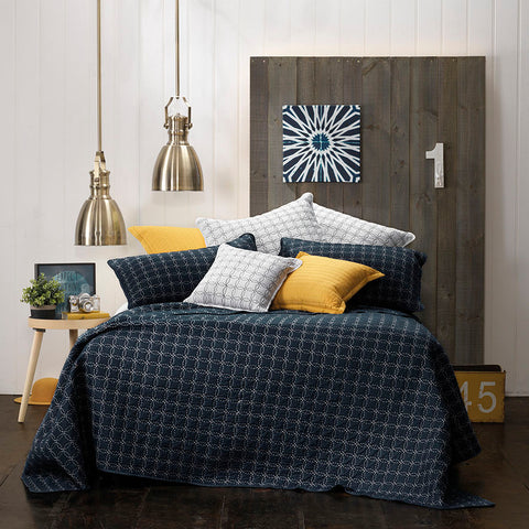 Clarence Navy Bedspread - Baines Manchester