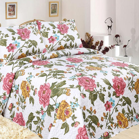 Flora Quilted Coverlet Set - Baines Manchester