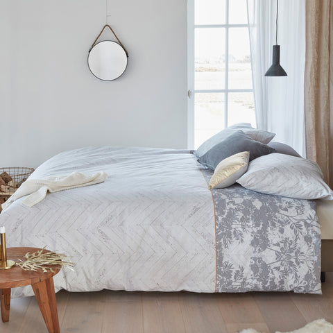Faye Grey Quilt Cover Set - Baines Manchester