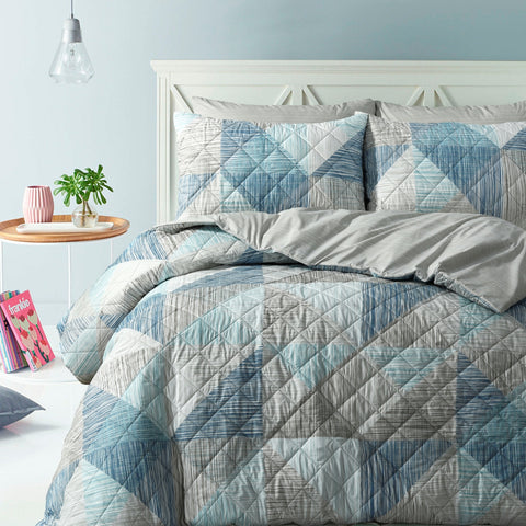 Geo Lines Quilted Quilt Cover Set
