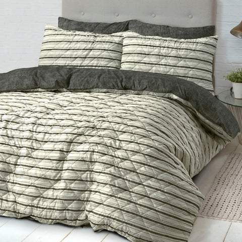 Industrial Stripe Quilted Quilt Cover Set