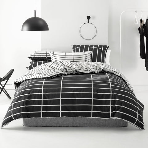Vasco Black Quilt Cover Set - Baines Manchester