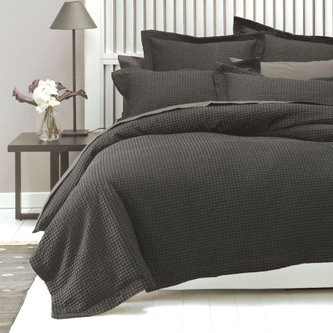 Deluxe Waffle Charcoal Quilt Cover Set - Baines Manchester