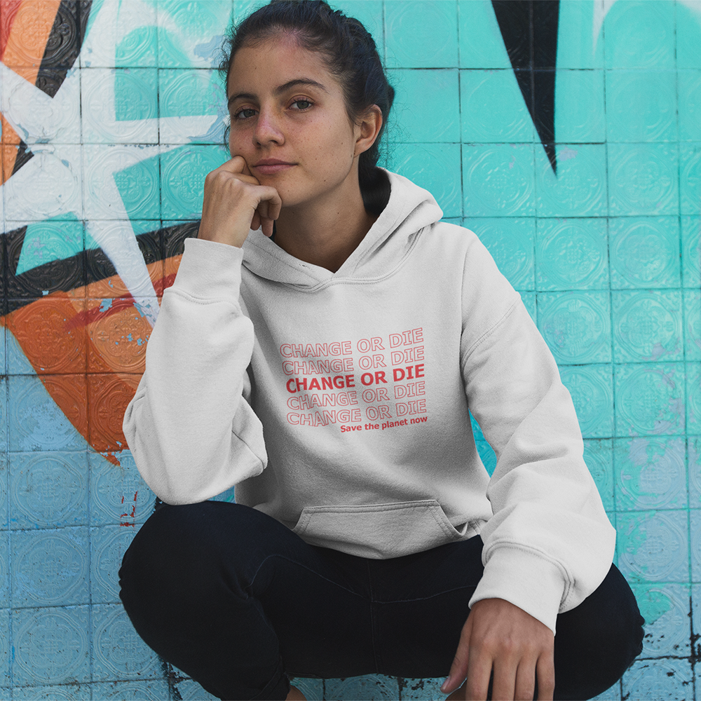 Organic White Hoodie - change or die, save the planet now