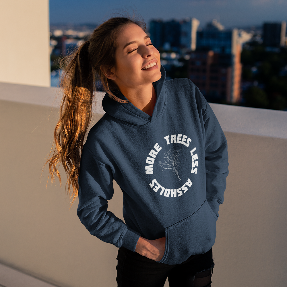 Organic Navy blue Hoodie - more trees less assholes