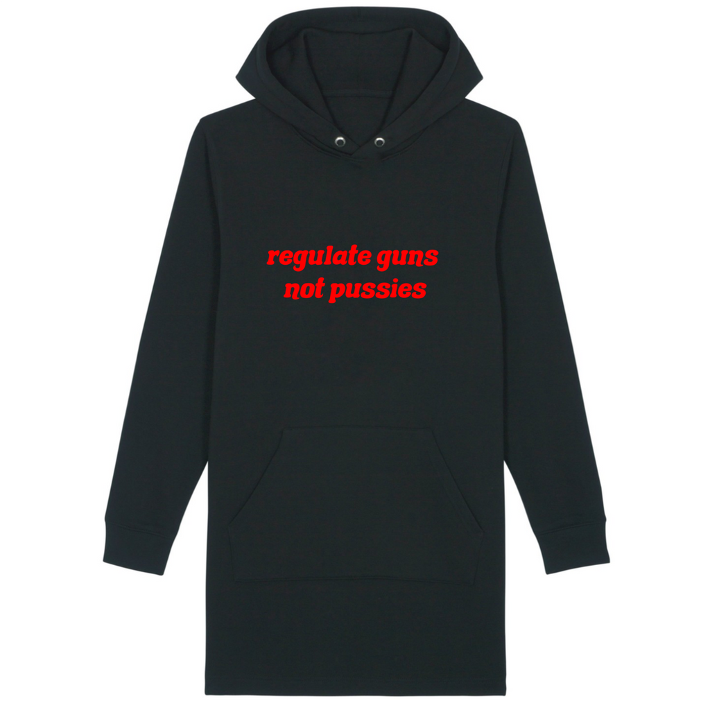 Organic Black Hoodie Dress - regulate guns not pussies