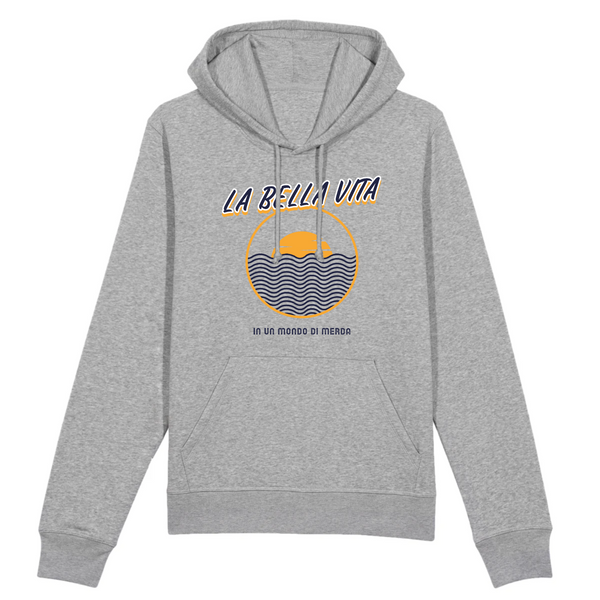Organic Heather Grey Hoodie - la bella vita in un mondo di merda