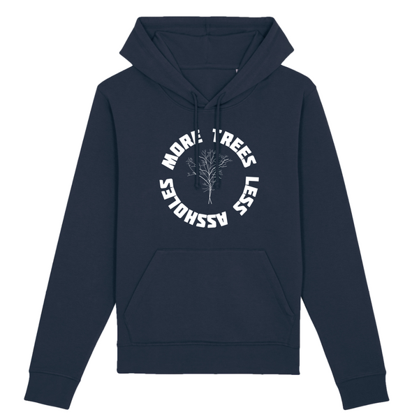 Organic Blue Navy Hoodie - more trees less assholes