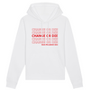 Organic White Hoodie - change or die, save the plant now