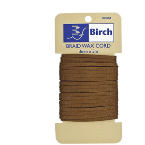 Birch Braidwax Cord Artificial Suede - 3mm x 5mt Fawn Colour - buy from J G Creations (Australia)