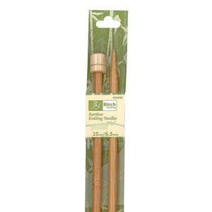 Bamboo Knitting Needles with Knob 25cm - 6mm or 6.5mm - buy from J G Creations (Australia)