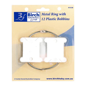 Birch Metal Ring with 12 Plastic Bobbins - buy from J G Creations (Australia)