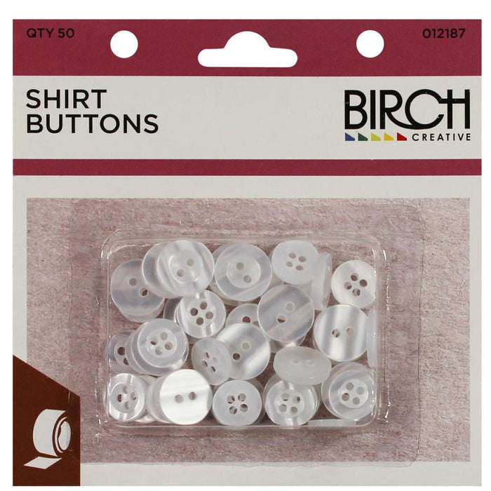 Shirt Buttons Pack pack of 50 White