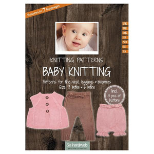 Go Handmade Knitting Patterns - Baby Knitting Vest, Leggings & Bloomers - Baby 3 & 6 Months