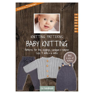 Go Handmade Knitting Patterns - Baby Knitting Leggings Cardigan & Romper - Baby 3 & 6 Months