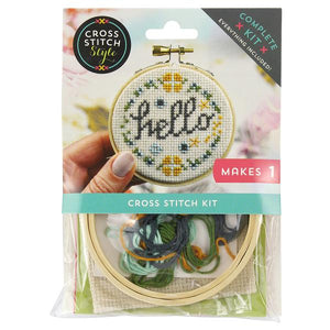 Cross Stitch Style - Complete Kit - Lemonade or Hello Hoop Ornament
