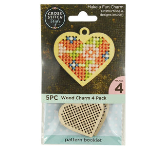 Cross Stitch Wooden Charms with Instructions and Designs - Choice of 4 Styles