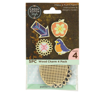 Cross Stitch Wooden Charms with Instructions and Designs - Choice of 4 Styles - buy from J G Creations (Australia)