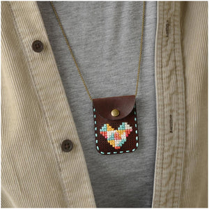 Cross Stitch Pouch Vegan Leather- Necklace and Earrings 60066