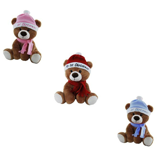 My First Christmas Bear - Choice of Red, Pink or Blue Hat & Scarf