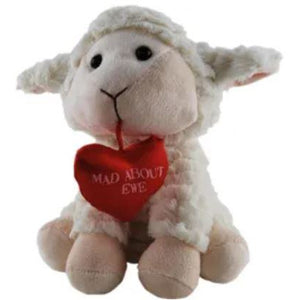 Lamb Baa Baa 'Mad About Ewe' Valentine Plush - 2 sizes - buy from J G Creations (Australia)
