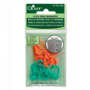 Clover Locking Stitch Markers 20 Piece 353 - buy from J G Creations (Australia)