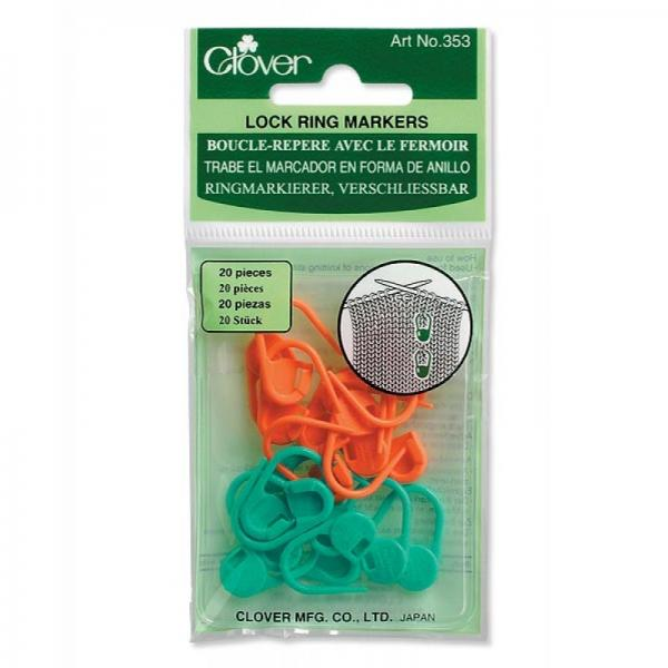 Clover Locking Ring Stitch Markers 20 Piece