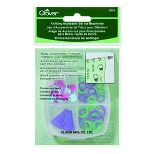 Clover Knitting Accessory Set for Beginners (In Plastic Case) 3034 - buy from J G Creations (Australia)