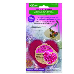 Clover Quick Yo Yo Maker Large Heart Shape (Fabric Pom Pom) 8705 - buy from J G Creations (Australia)