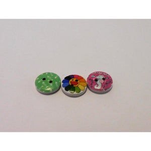 White Buttons choice of Rainbow Happy Flower, Green with White fish bones or Seahorse Design (pack of 4 Wooden)