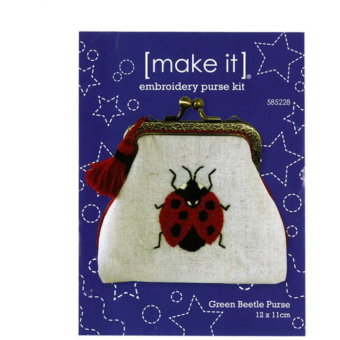 Red Ladybug Beetle Embroidery Purse Kit [make it] 585228