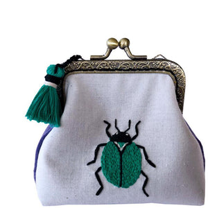 Green Beetle Embroidery Purse Kit [make it] 585229 - buy from J G Creations (Australia)