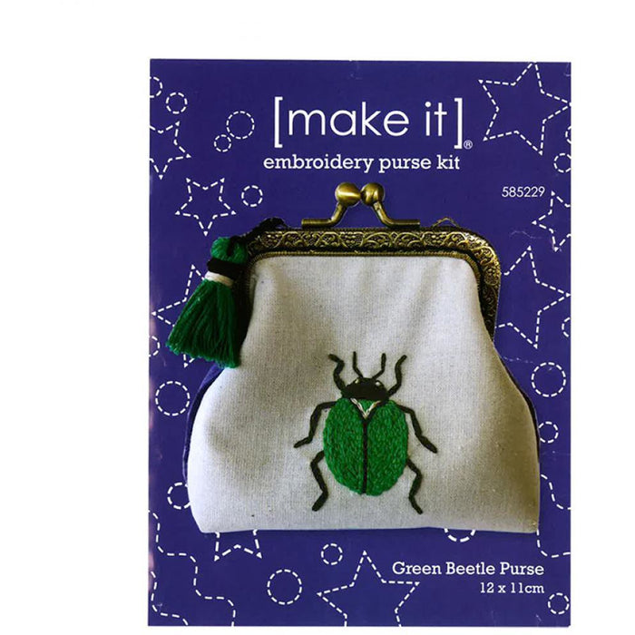 Green Beetle Embroidery Purse Kit [make it] 585229