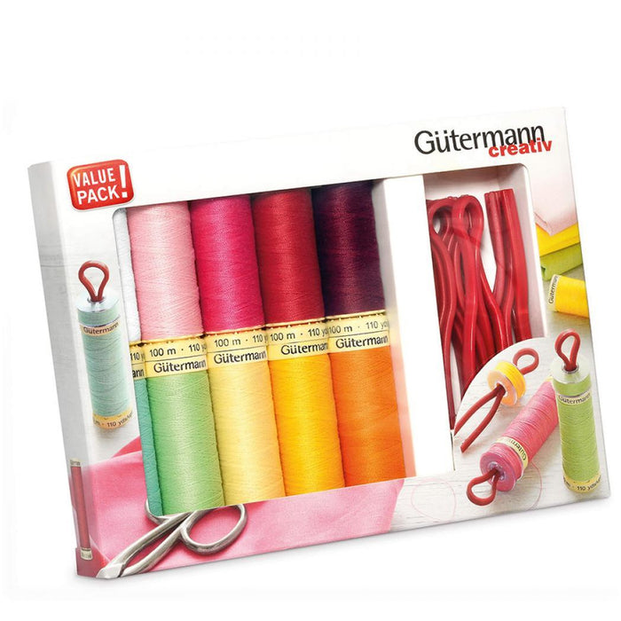 Gutermann Sew All 100Mtr Thread Set with 10 Reels & 10 Bobbin Clips