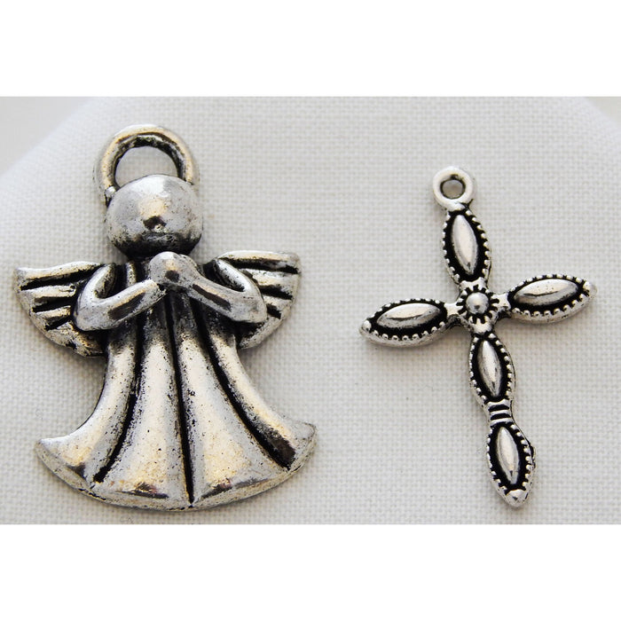 Charms Silver Toned Angels or Crosses