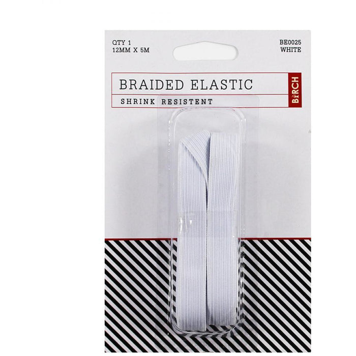 Birch 12mm Wide Braided Elastic - Shrink Resistant - White 5m