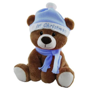My First Christmas Bear - Choice of Red, Pink or Blue Hat & Scarf - buy from J G Creations (Australia)