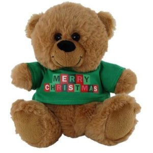 Little Brown Jelly Bear with Green or Red Merry Christmas Tshirt from Elka 18cm