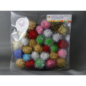 Glitter Pom Poms 25mm Multicoloured