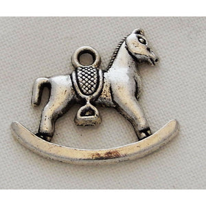 Charms Silver Toned Baby Theme (Packs of 4) Baby Pram, Dummy or Rocking Horse - buy from J G Creations (Australia)
