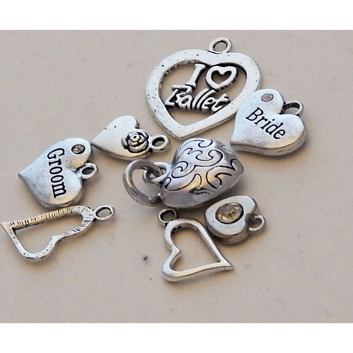 Charms Silver Toned Hearts, Ballet, Bride, Groom, Mixed Heart Designs